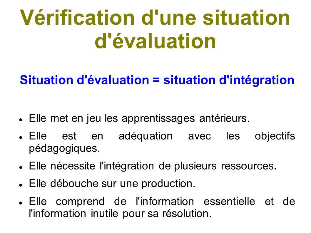 Vérification d une situation d évaluation Situation d intégration = situation d évaluation Elle est inédite pour l élève (différente tout en étant semblable, pour éviter la restitution).