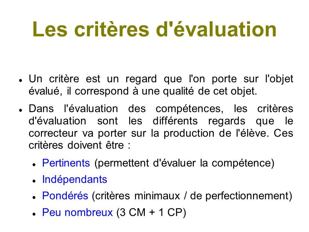 Les critères d évaluation Deux critères fondamentaux : La pertinence = adéquation de la production à la situation (notamment à la consigne).