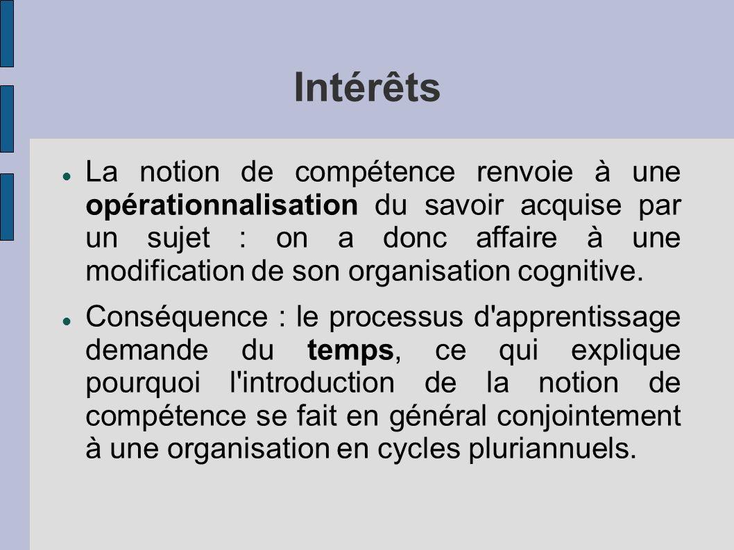Intérêts La notion de compétence renvoie à une opérationnalisation du savoir acquise par un sujet : on a donc affaire à une modification de son organisation cognitive.