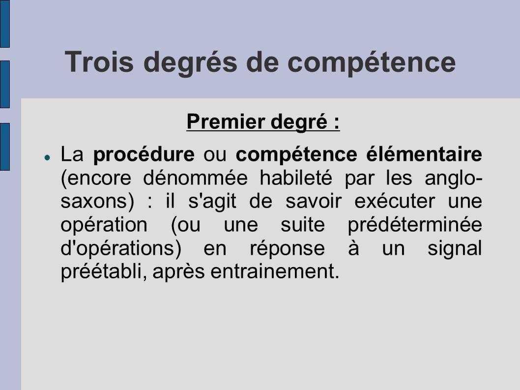 Trois degrés de compétence Premier degré : La procédure ou compétence élémentaire (encore dénommée habileté par les anglo- saxons) : il s agit de savoir exécuter une opération (ou une suite prédéterminée d opérations) en réponse à un signal préétabli, après entrainement.