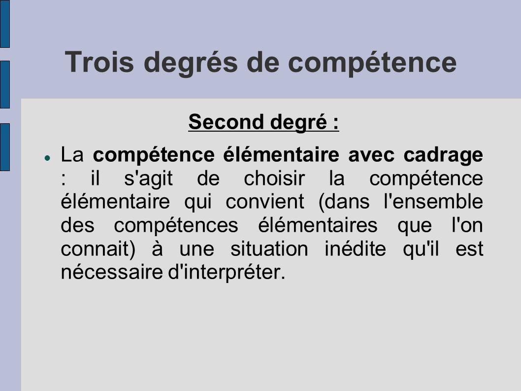 Trois degrés de compétence Second degré : La compétence élémentaire avec cadrage : il s agit de choisir la compétence élémentaire qui convient (dans l ensemble des compétences élémentaires que l on connait) à une situation inédite qu il est nécessaire d interpréter.