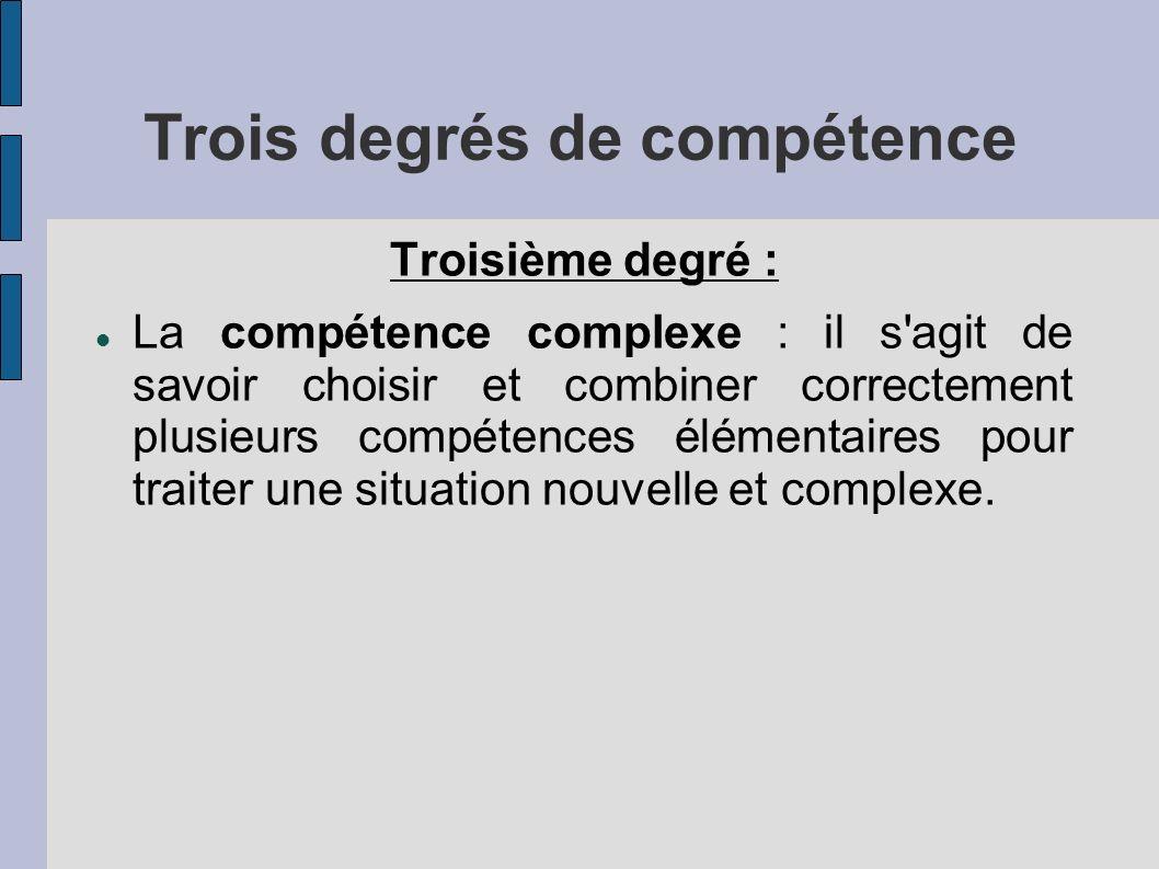 Trois degrés de compétence Troisième degré : La compétence complexe : il s agit de savoir choisir et combiner correctement plusieurs compétences élémentaires pour traiter une situation nouvelle et complexe.