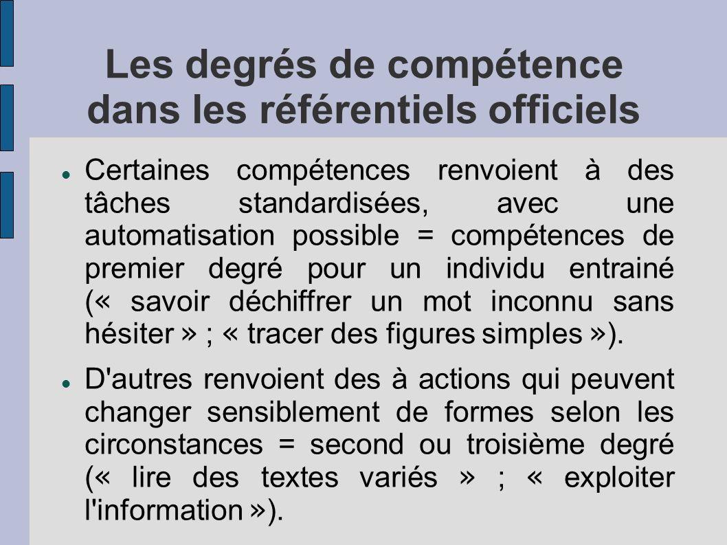 Les degrés de compétence dans les référentiels officiels Certaines compétences renvoient à des tâches standardisées, avec une automatisation possible = compétences de premier degré pour un individu entrainé ( « savoir déchiffrer un mot inconnu sans hésiter » ; « tracer des figures simples » ).