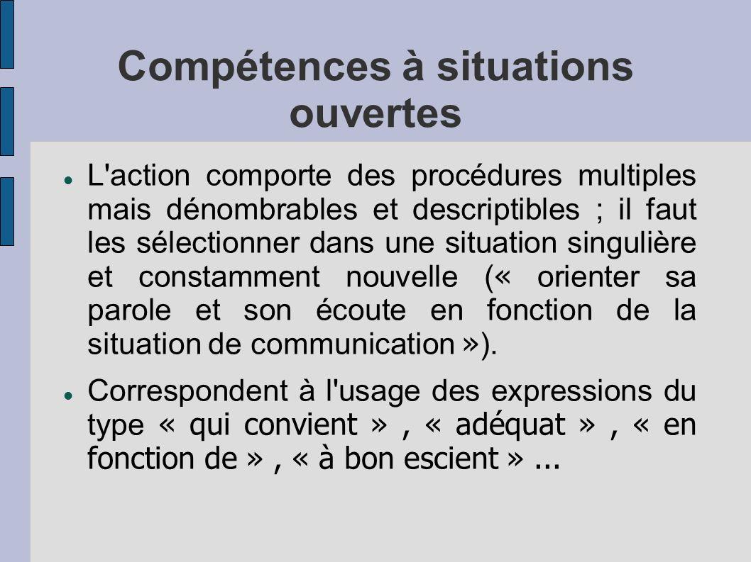 Compétences à situations ouvertes L'action comporte des procédures multiples mais dénombrables et descriptibles ; il faut les sélectionner dans une si