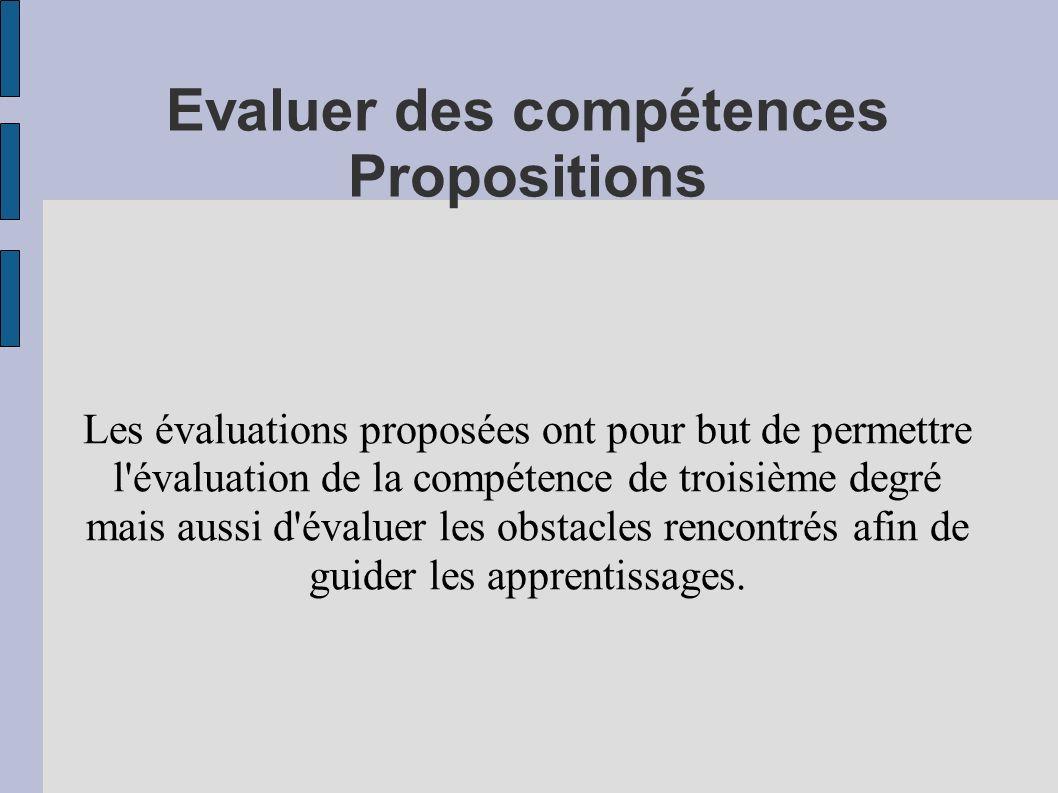 Evaluer des compétences Propositions Les évaluations proposées ont pour but de permettre l'évaluation de la compétence de troisième degré mais aussi d