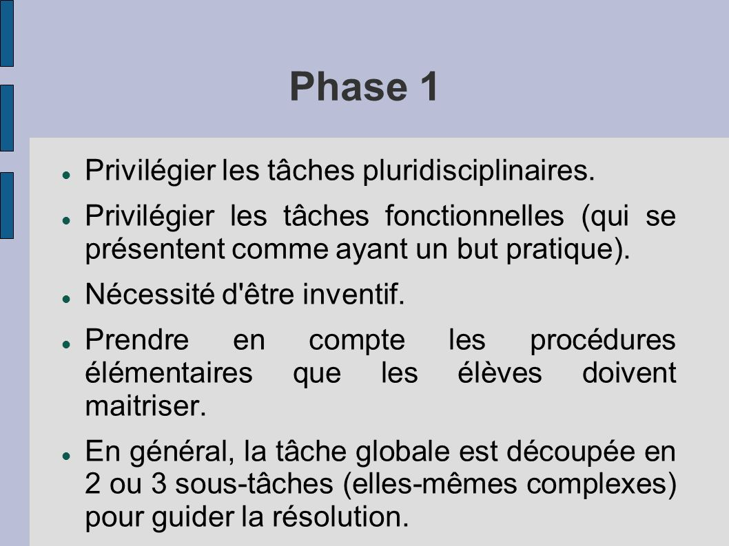 Phase 1 Privilégier les tâches pluridisciplinaires. Privilégier les tâches fonctionnelles (qui se présentent comme ayant un but pratique). Nécessité d