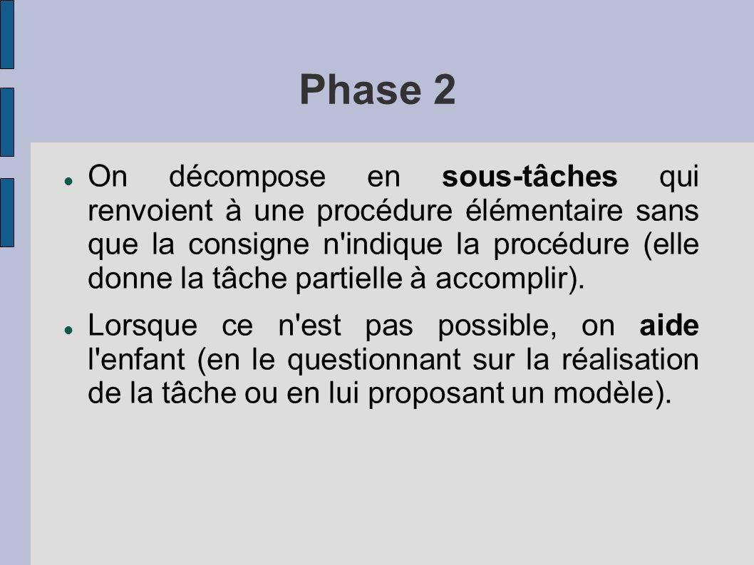 Phase 2 On décompose en sous-tâches qui renvoient à une procédure élémentaire sans que la consigne n indique la procédure (elle donne la tâche partielle à accomplir).