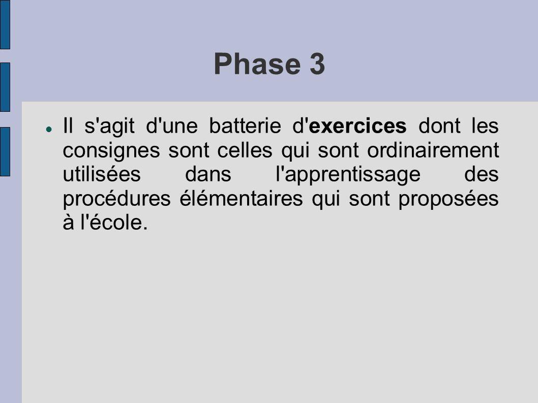 Phase 3 Il s'agit d'une batterie d'exercices dont les consignes sont celles qui sont ordinairement utilisées dans l'apprentissage des procédures éléme
