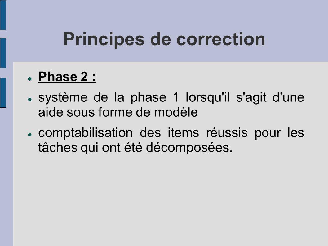 Principes de correction Phase 2 : système de la phase 1 lorsqu il s agit d une aide sous forme de modèle comptabilisation des items réussis pour les tâches qui ont été décomposées.