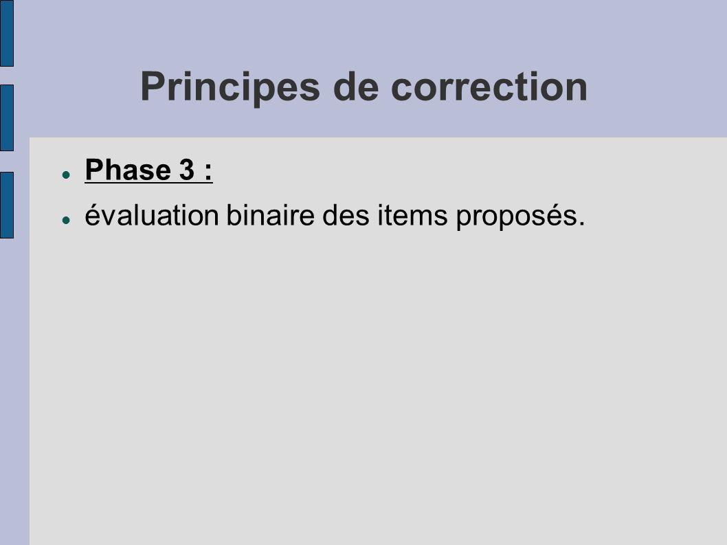 Principes de correction Phase 3 : évaluation binaire des items proposés.