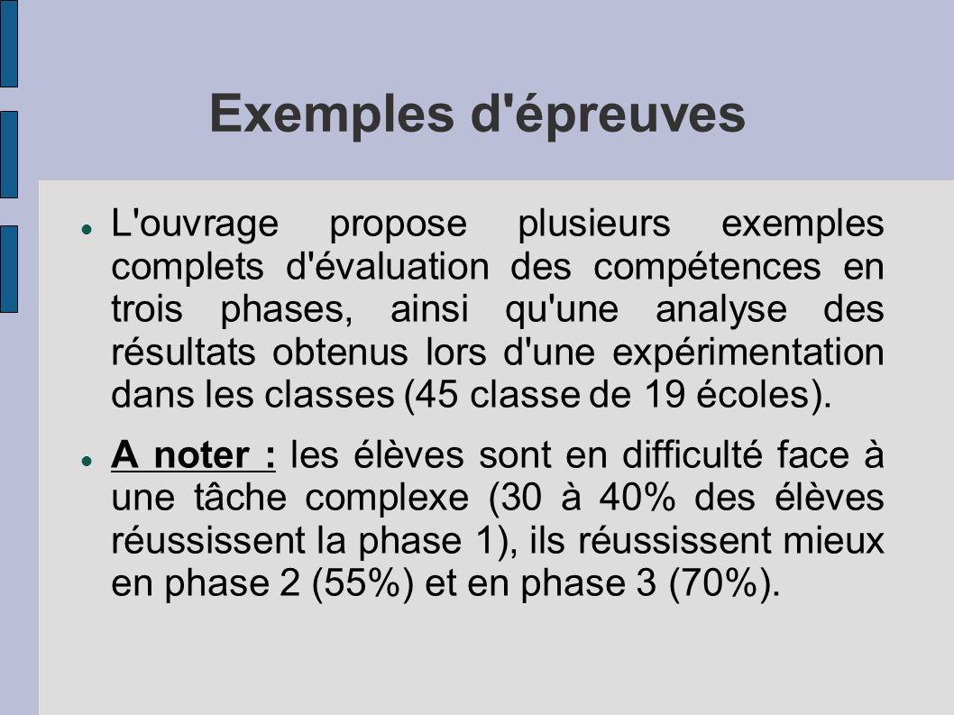 L ouvrage propose plusieurs exemples complets d évaluation des compétences en trois phases, ainsi qu une analyse des résultats obtenus lors d une expérimentation dans les classes (45 classe de 19 écoles).