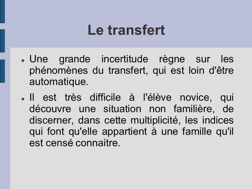 Le transfert Une grande incertitude règne sur les phénomènes du transfert, qui est loin d'être automatique. Il est très difficile à l'élève novice, qu