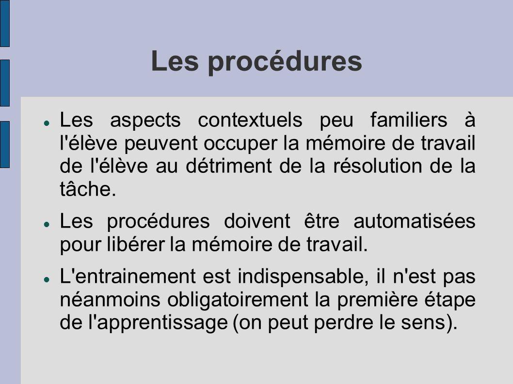 Les procédures Les aspects contextuels peu familiers à l élève peuvent occuper la mémoire de travail de l élève au détriment de la résolution de la tâche.