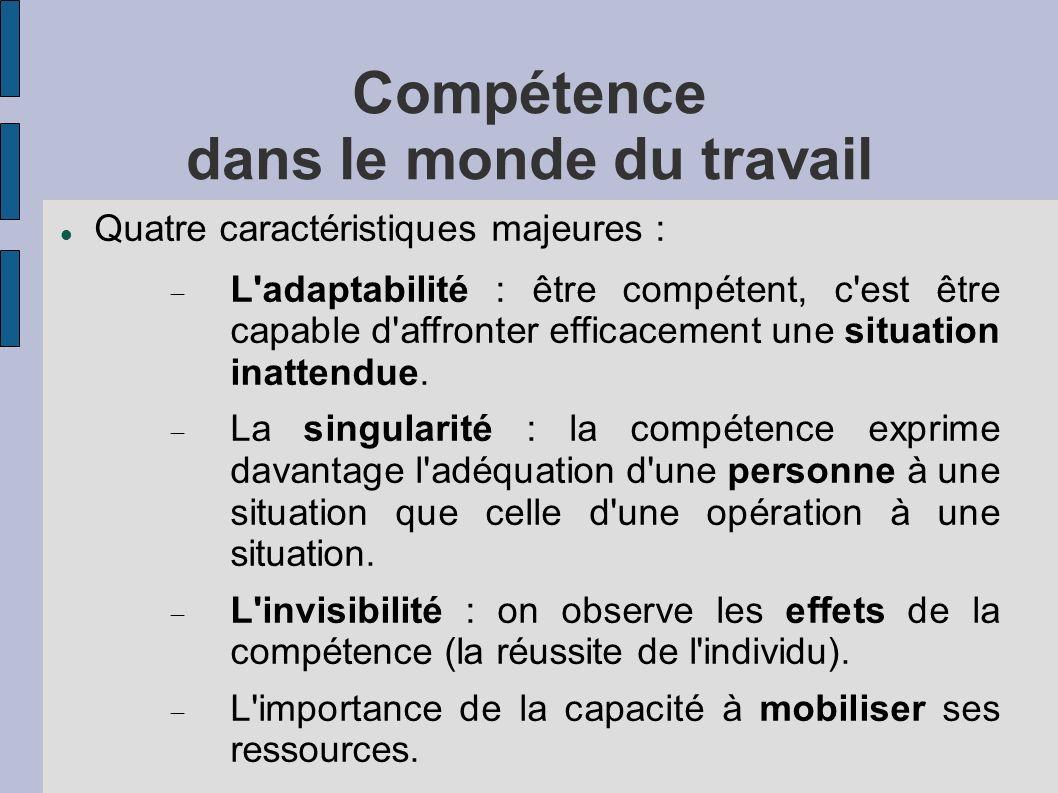 Compétence dans le monde du travail Quatre caractéristiques majeures : L'adaptabilité : être compétent, c'est être capable d'affronter efficacement un