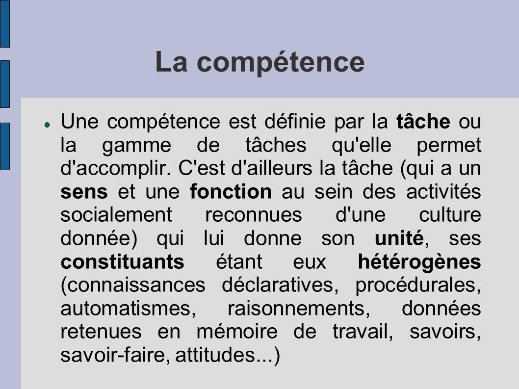 La compétence Une compétence est définie par la tâche ou la gamme de tâches qu'elle permet d'accomplir. C'est d'ailleurs la tâche (qui a un sens et un