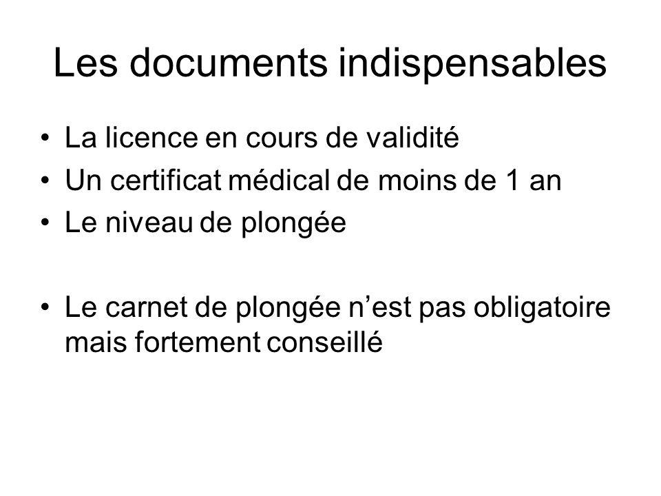 Les documents indispensables La licence en cours de validité Un certificat médical de moins de 1 an Le niveau de plongée Le carnet de plongée nest pas