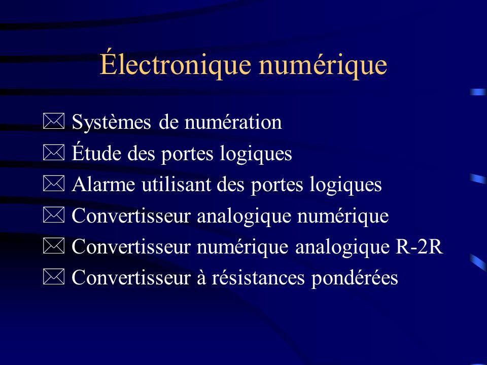 Électronique numérique * Systèmes de numération * Étude des portes logiques * Alarme utilisant des portes logiques * Convertisseur analogique numériqu
