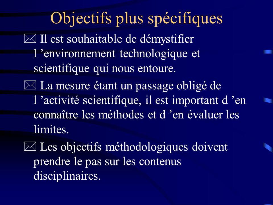 Objectifs plus spécifiques * Il est souhaitable de démystifier l environnement technologique et scientifique qui nous entoure. * La mesure étant un pa