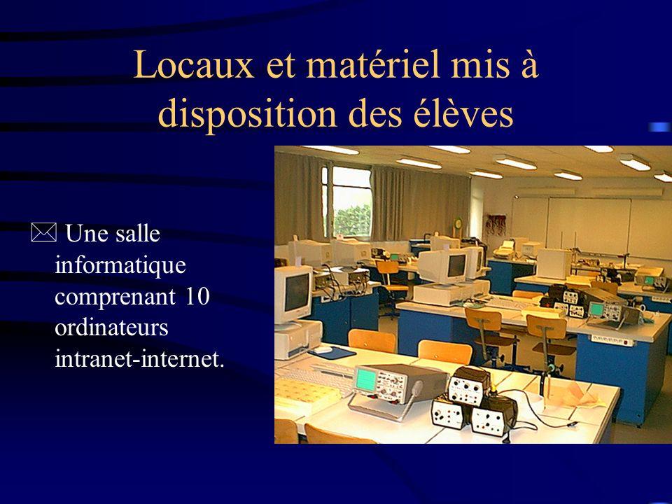 Locaux et matériel mis à disposition des élèves * Une salle informatique comprenant 10 ordinateurs intranet-internet.