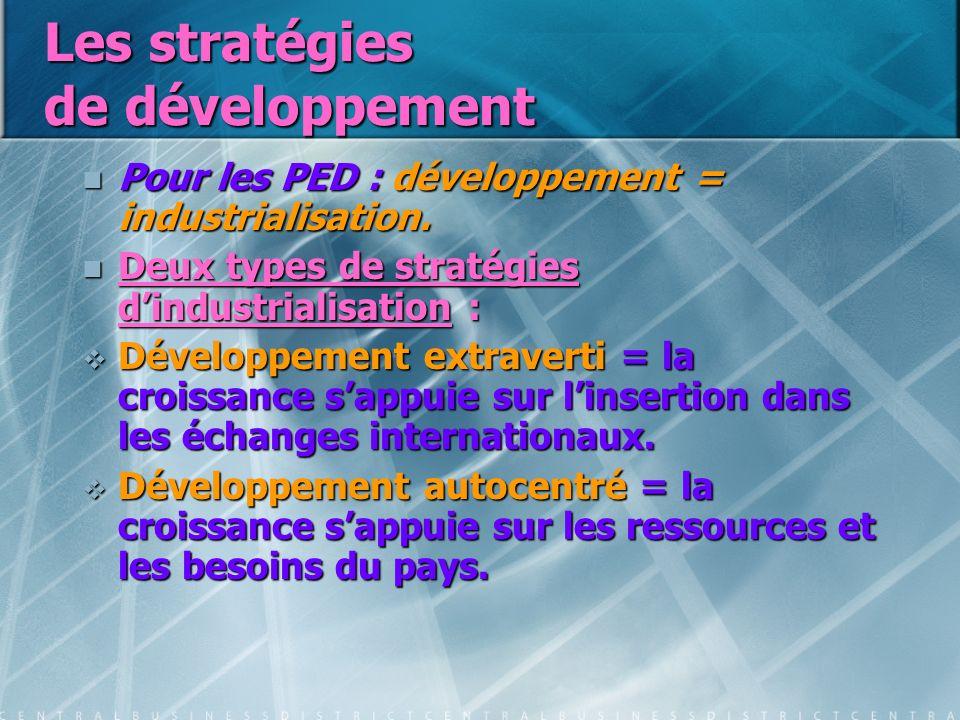 Les stratégies de développement Pour les PED : développement = industrialisation. Pour les PED : développement = industrialisation. Deux types de stra