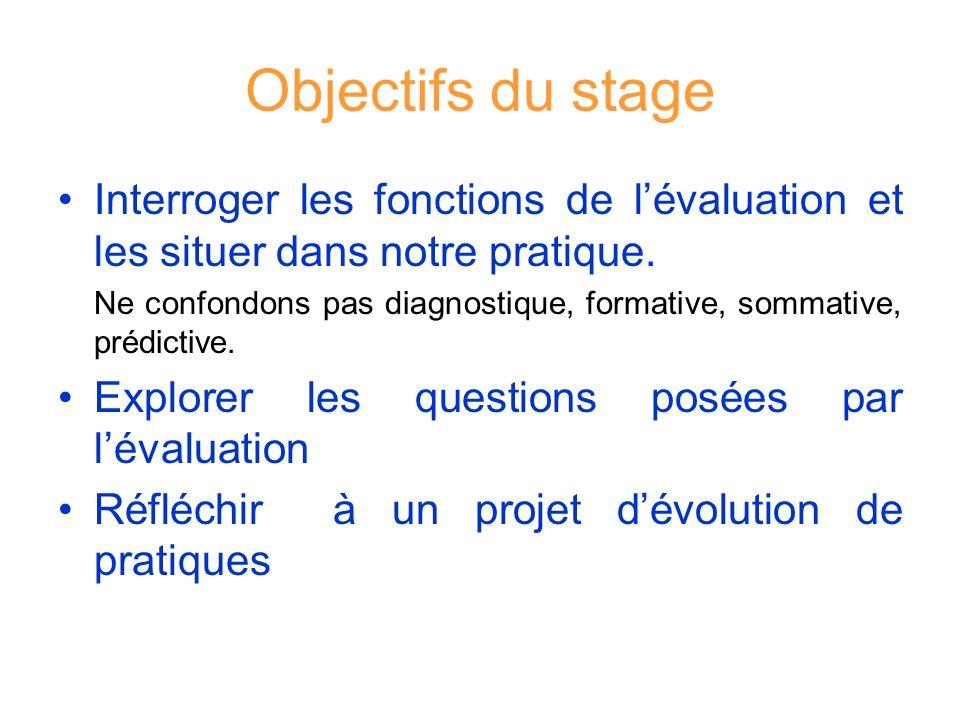 Objectifs du stage Interroger les fonctions de lévaluation et les situer dans notre pratique. Ne confondons pas diagnostique, formative, sommative, pr