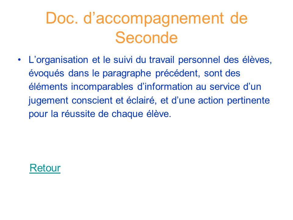 Doc. daccompagnement de Seconde Lorganisation et le suivi du travail personnel des élèves, évoqués dans le paragraphe précédent, sont des éléments inc