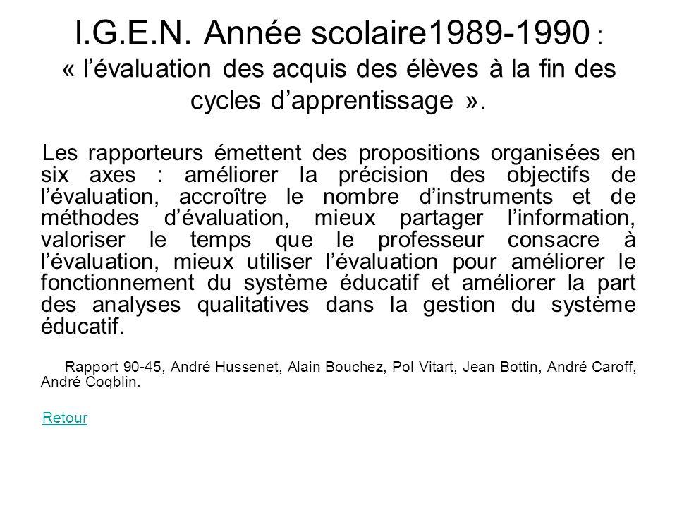 I.G.E.N. Année scolaire1989-1990 : « lévaluation des acquis des élèves à la fin des cycles dapprentissage ». Les rapporteurs émettent des propositions