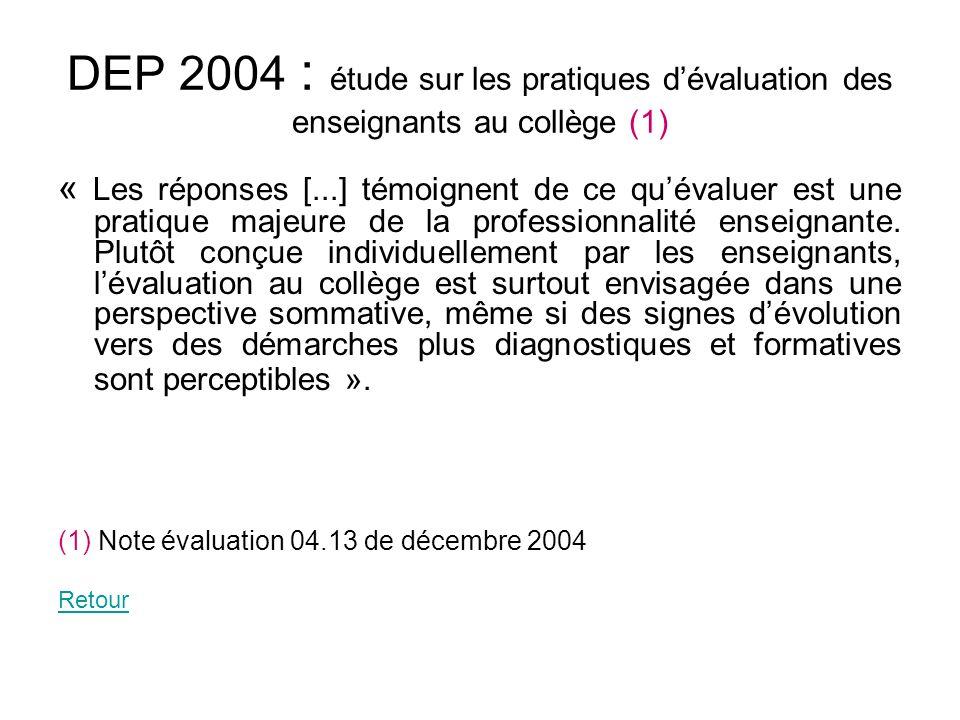 DEP 2004 : étude sur les pratiques dévaluation des enseignants au collège (1) « Les réponses [...] témoignent de ce quévaluer est une pratique majeure
