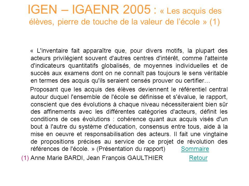IGEN – IGAENR 2005 : « Les acquis des élèves, pierre de touche de la valeur de lécole » (1) « L'inventaire fait apparaître que, pour divers motifs, la