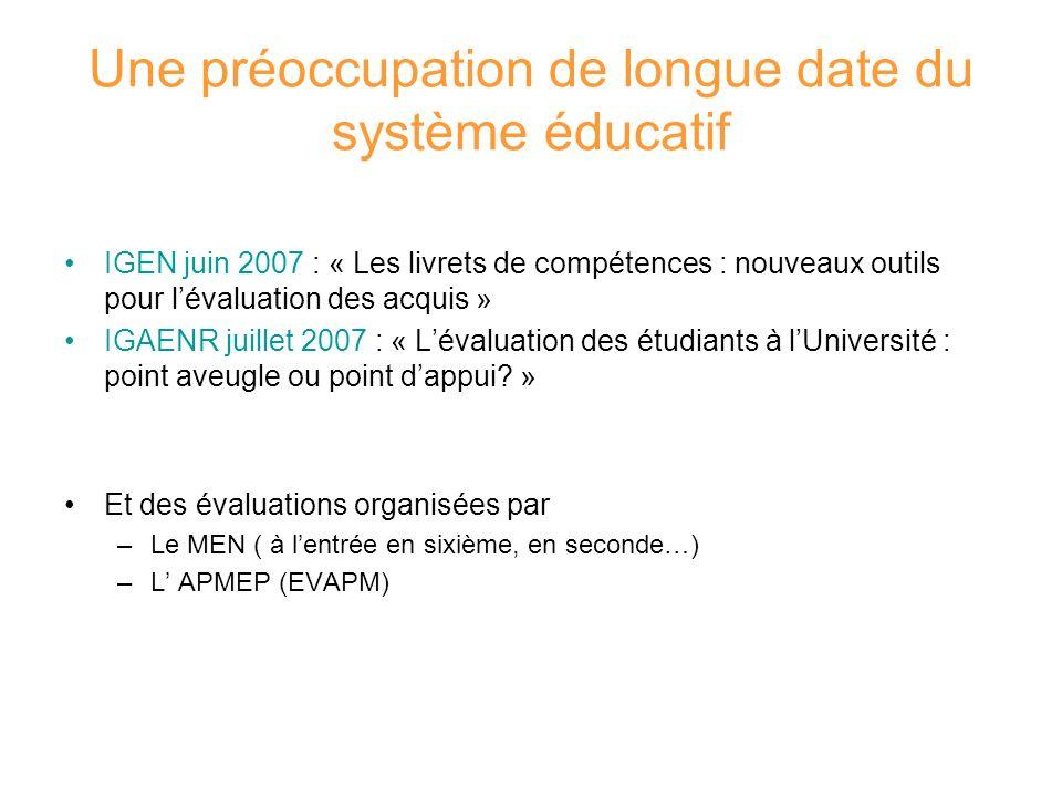 Une préoccupation de longue date du système éducatif IGEN juin 2007 : « Les livrets de compétences : nouveaux outils pour lévaluation des acquis » IGA
