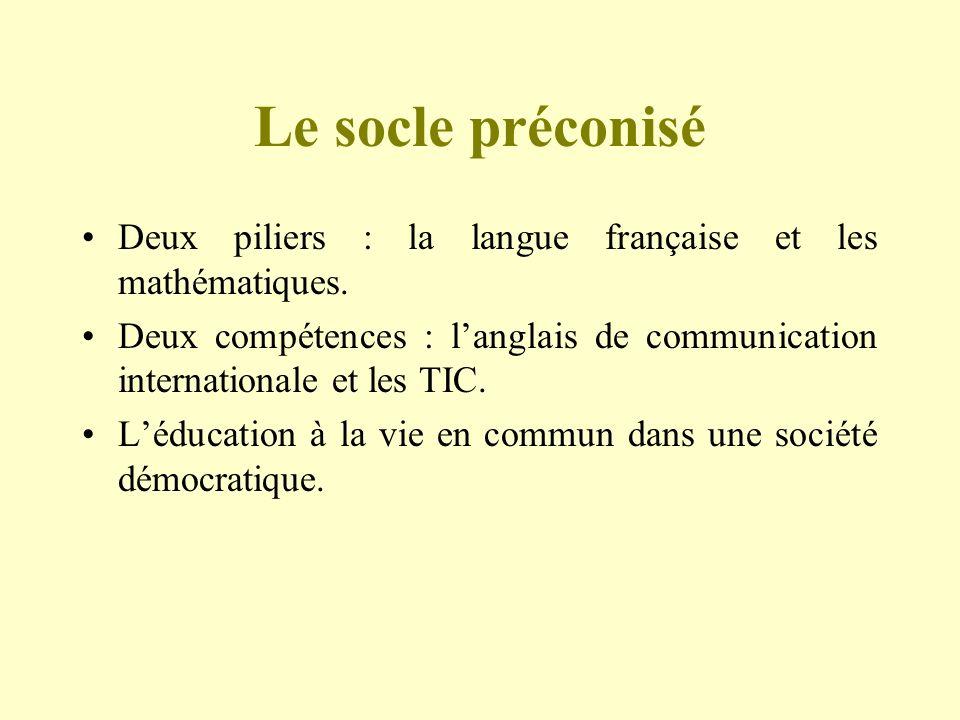Le socle préconisé Deux piliers : la langue française et les mathématiques. Deux compétences : langlais de communication internationale et les TIC. Lé