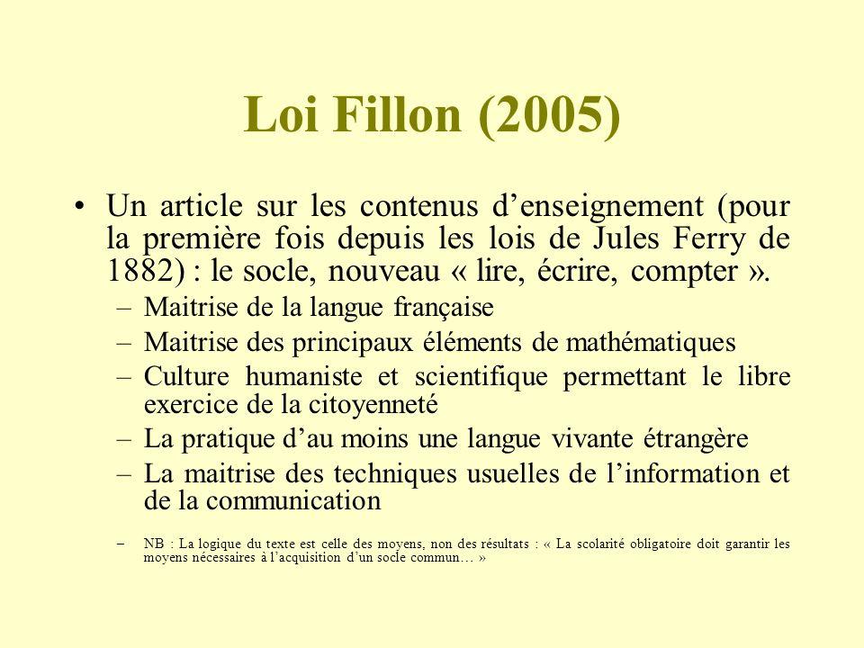 Loi Fillon (2005) Un article sur les contenus denseignement (pour la première fois depuis les lois de Jules Ferry de 1882) : le socle, nouveau « lire,