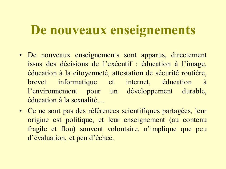 De nouveaux enseignements De nouveaux enseignements sont apparus, directement issus des décisions de lexécutif : éducation à limage, éducation à la ci