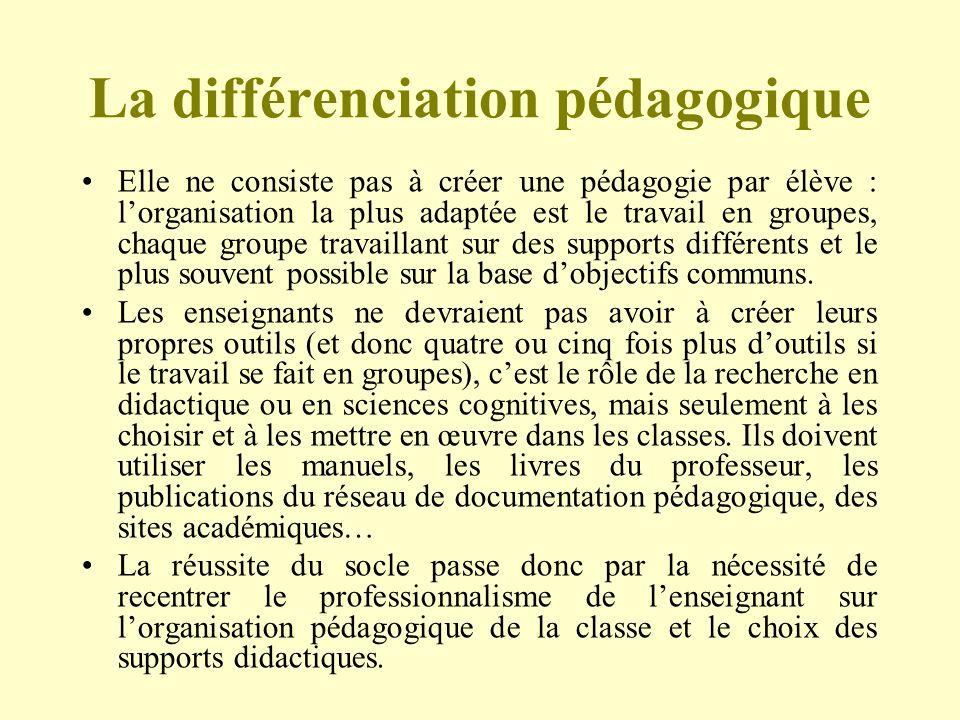 La différenciation pédagogique Elle ne consiste pas à créer une pédagogie par élève : lorganisation la plus adaptée est le travail en groupes, chaque