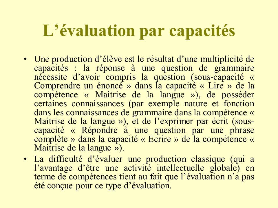 Lévaluation par capacités Une production délève est le résultat dune multiplicité de capacités : la réponse à une question de grammaire nécessite davo