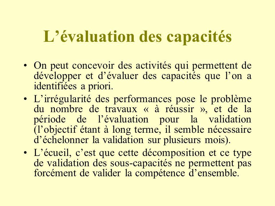 Lévaluation des capacités On peut concevoir des activités qui permettent de développer et dévaluer des capacités que lon a identifiées a priori. Lirré