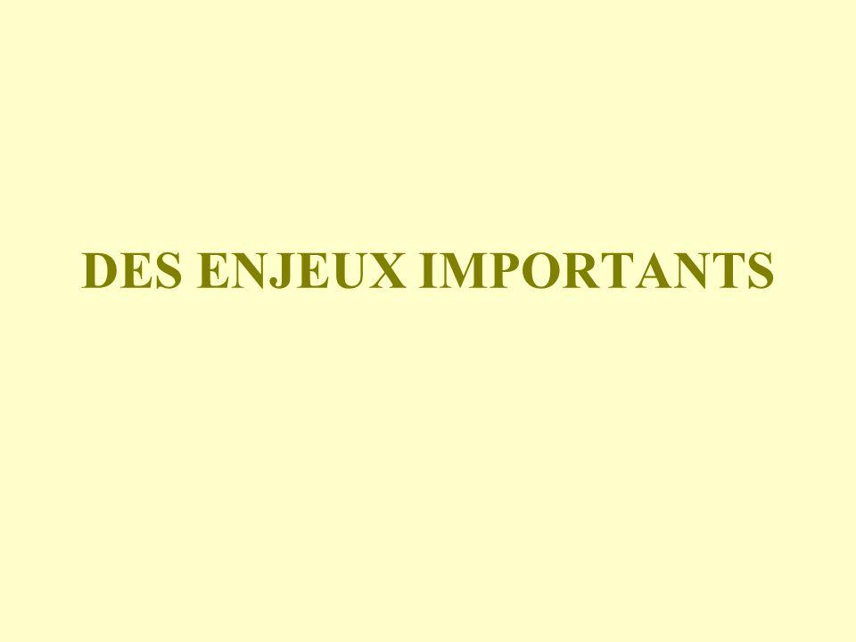 DES ENJEUX IMPORTANTS