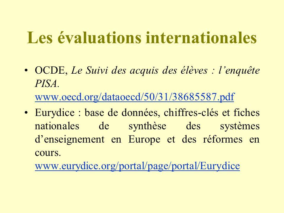 Les évaluations internationales OCDE, Le Suivi des acquis des élèves : lenquête PISA. www.oecd.org/dataoecd/50/31/38685587.pdf www.oecd.org/dataoecd/5
