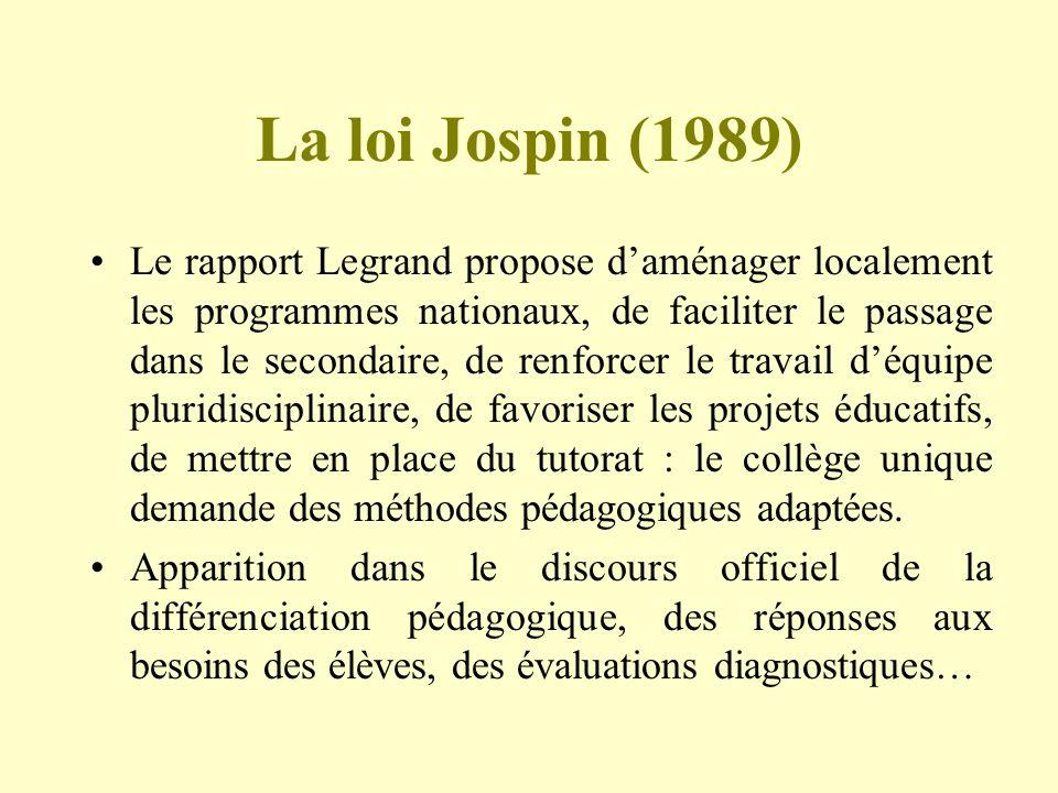 La loi Jospin (1989) Le rapport Legrand propose daménager localement les programmes nationaux, de faciliter le passage dans le secondaire, de renforce