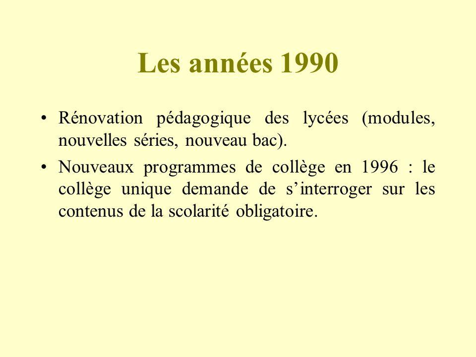 Les années 1990 Rénovation pédagogique des lycées (modules, nouvelles séries, nouveau bac). Nouveaux programmes de collège en 1996 : le collège unique