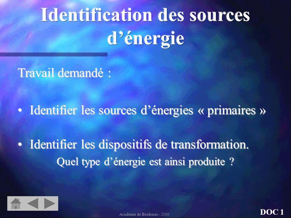 Différents types de source : Les sources dénergies « primaires » sont présentes à létat naturel. Les autres sont le résultat de la transformation dune