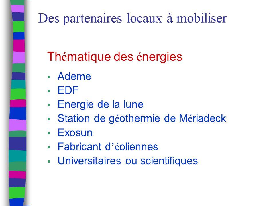 Des partenaires locaux à mobiliser Th é matique des é nergies Ademe EDF Energie de la lune Station de g é othermie de M é riadeck Exosun Fabricant d é oliennes Universitaires ou scientifiques