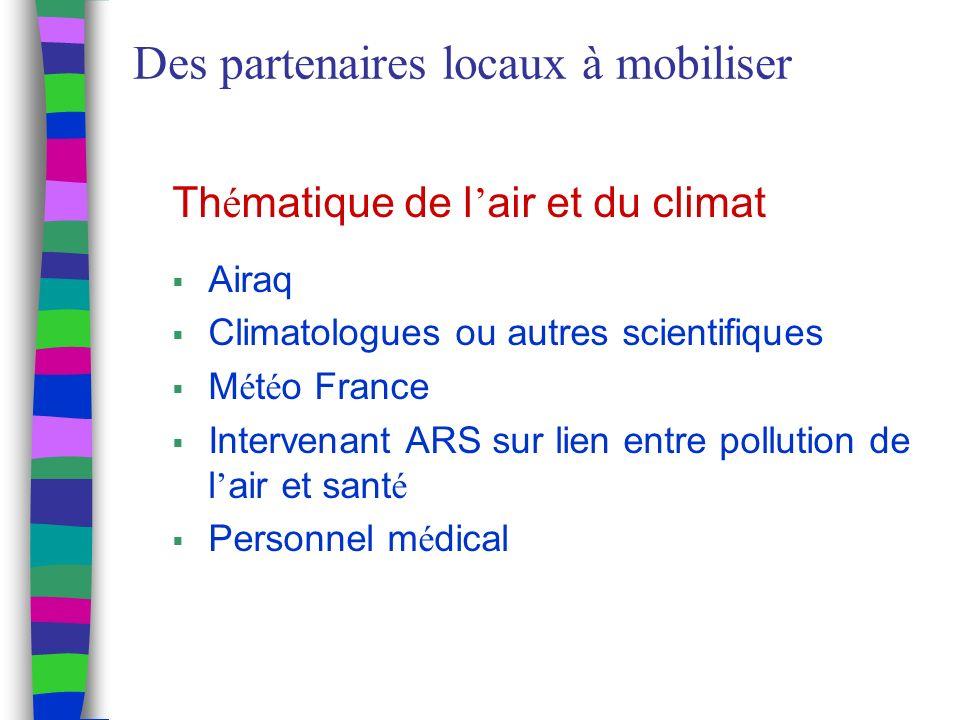 Des partenaires locaux à mobiliser Th é matique de l air et du climat Airaq Climatologues ou autres scientifiques M é t é o France Intervenant ARS sur lien entre pollution de l air et sant é Personnel m é dical