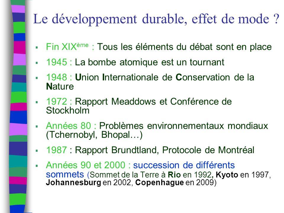 Le développement durable, effet de mode .