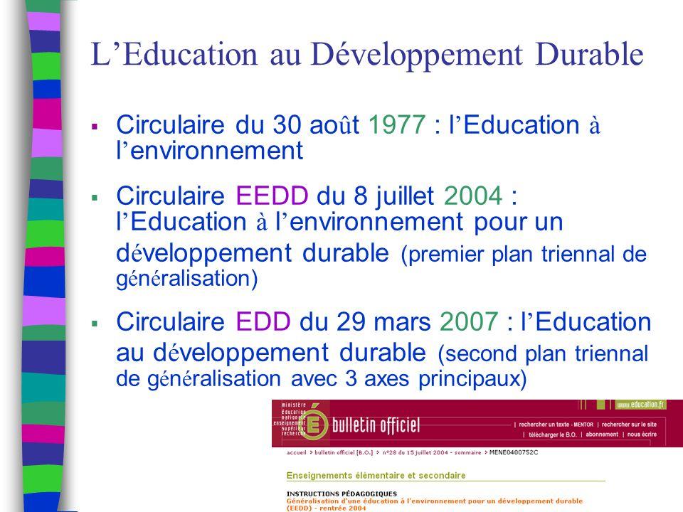 LEducation au Développement Durable Circulaire du 30 ao û t 1977 : l Education à l environnement Circulaire EEDD du 8 juillet 2004 : l Education à l environnement pour un d é veloppement durable (premier plan triennal de g é n é ralisation) Circulaire EDD du 29 mars 2007 : l Education au d é veloppement durable (second plan triennal de g é n é ralisation avec 3 axes principaux)