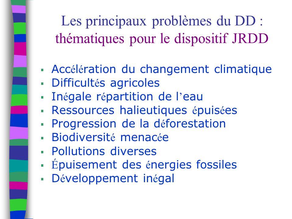 Les principaux problèmes du DD : thématiques pour le dispositif JRDD Acc é l é ration du changement climatique Difficult é s agricoles In é gale r é partition de l eau Ressources halieutiques é puis é es Progression de la d é forestation Biodiversit é menac é e Pollutions diverses É puisement des é nergies fossiles D é veloppement in é gal