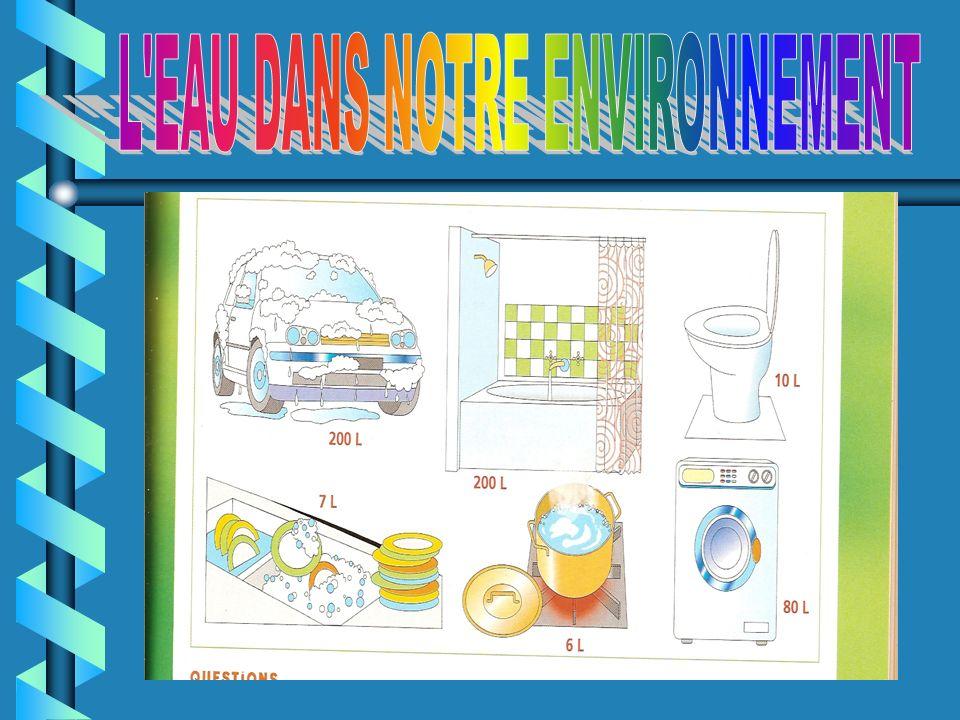 L'eau est présente partout dans notre vie quotidienne : on l'utilise pour boire, pour préparer la cuisine, pour se laver, pour l'évacuation des toilet