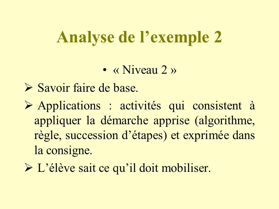Analyse de lexemple 2 « Niveau 2 » Savoir faire de base. Applications : activités qui consistent à appliquer la démarche apprise (algorithme, règle, s