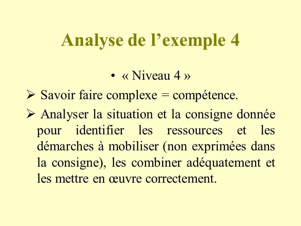 Analyse de lexemple 4 « Niveau 4 » Savoir faire complexe = compétence. Analyser la situation et la consigne donnée pour identifier les ressources et l