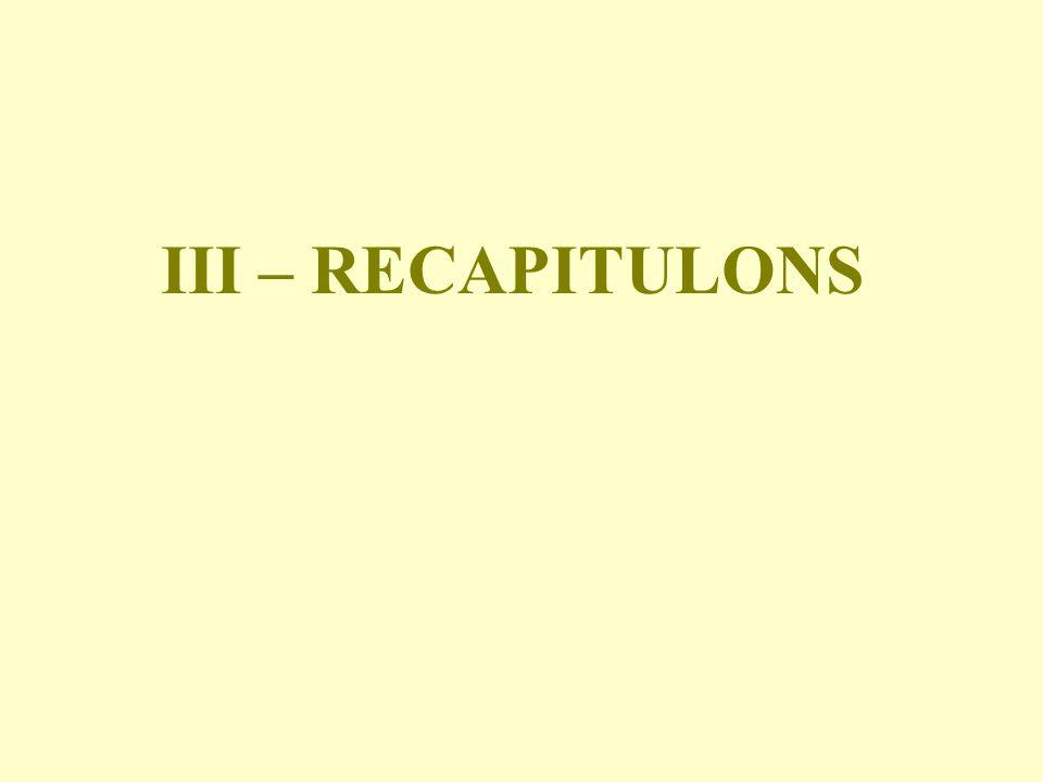 III – RECAPITULONS